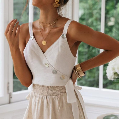 New Spring And Summer Cotton And Hemp Holiday Button Vest