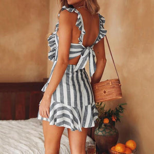 Sexy Lace Suspender Striped Tied Dress