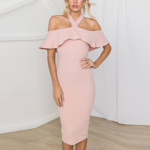 Sexy Halter Plain Slim Flounce Decorated Pink Bodycon Dress
