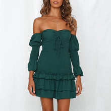 Load image into Gallery viewer, Elegant Off Shoulder Falbala Wrinkle Bodycon Dress