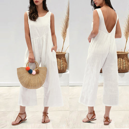 Sexy Backless Loose Sleeveless Jumpsuit