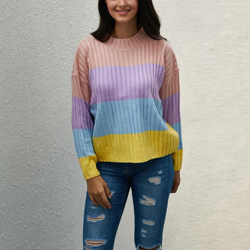 Color Stripe Round Neck Long Sleeve Sweaters