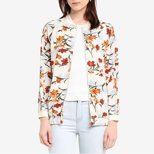 1Fashion Round Neck Zipper Printed Colour Coat