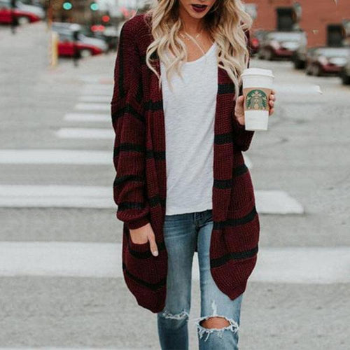 Collarless Slit Pocket Snap Front Striped Cardigans