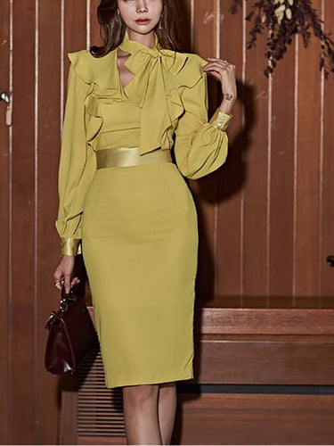 V-Neck  Bowknot Slit  Belt Tiered  Plain  Bishop Sleeve Shift Dresses