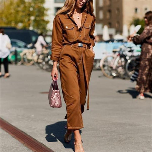 Fashionable lapel overalls and waist jumpsuits