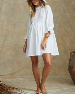 Solid Color Short-Sleeved Shirt Collar Cotton And Linen Mini Dress
