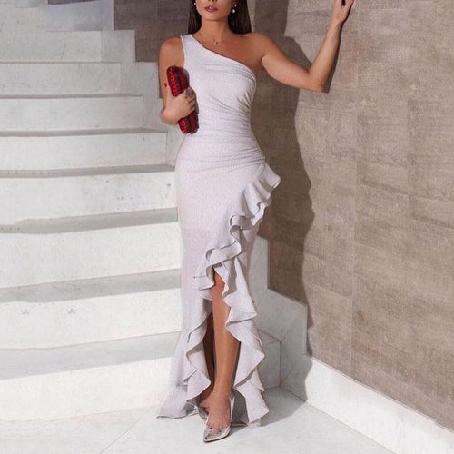 Elegant One Shoulder Irregular Flouncing Evening Maxi Dress