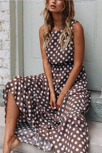 Wave Point Round Neck Sleeveless Maxi Dress