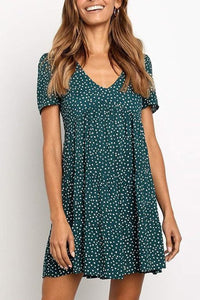 Printed V-Neck Short-Sleeved A-Line Loose Casual Dress