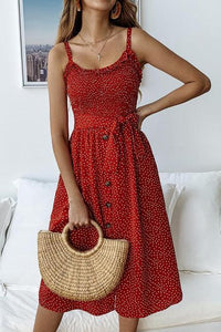 Fashion Ruffled Polka Dot Sling Casual Dresses