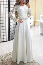 Load image into Gallery viewer, Fashion White Lace Long Sleeve Evening Dress