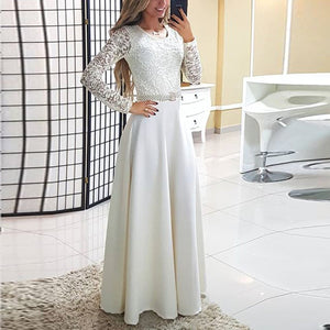 Fashion White Lace Long Sleeve Evening Dress
