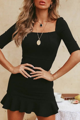 Sexy Black Short Sleeve Fishtail Bodycon Mini Dress
