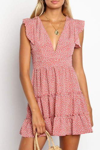 Short-Sleeved V-Neck Low-Cut   Floral Ruffled Sleeve Dress