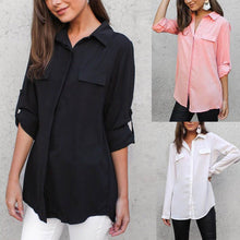 Load image into Gallery viewer, Solid Color Polo Lapel Casual Long Shirt