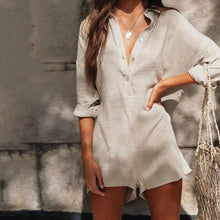 Load image into Gallery viewer, V-Neck Linen Refreshing Jumpsuit Shorts