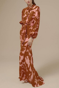 🔥Fashion Temperament Belt Floral Printed Long-Sleeved Maxi Dress