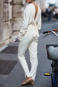 V-Neck Halter Street Style Fashion Jumpsuit