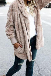 Hooded Fluffy In Fleece Fur Cardigans