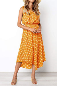 Sweet Polka Dot Printed Defined Waist Vacation Dress