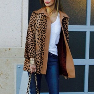 Winter Warm Loose Leopard Outerwear Coat