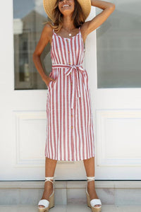 Striped Button Pocket Bow Cardigan Sling Dress