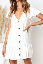 Load image into Gallery viewer, V Neck  Single Breasted  Plain  Short Sleeve Mini Casual Dresses