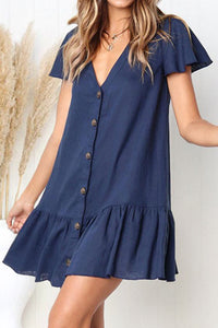 V Neck  Single Breasted  Plain  Short Sleeve Mini Casual Dresses