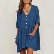 Load image into Gallery viewer, Summer Solid Color Casual Loose Pockets Mini Dress