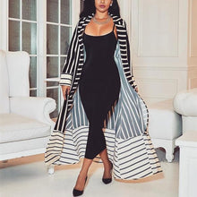 Load image into Gallery viewer, Fashion Casual Long Sleeve Trim Long Print Stripe Coat