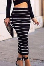 Load image into Gallery viewer, Black Stripe Midi Skirt