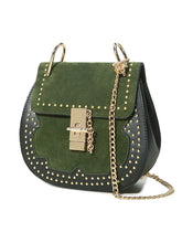 Load image into Gallery viewer, Patchwork  Rivets Chain Round Crossbody Bag