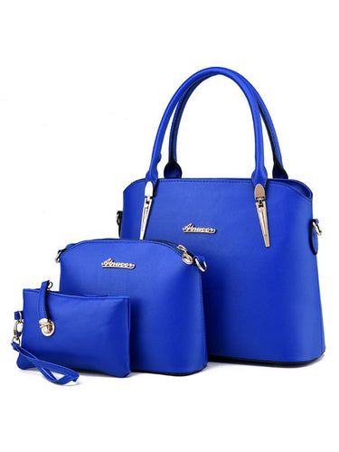Three Pieces Basic Pu Shoulder Bag