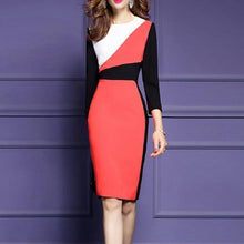 Load image into Gallery viewer, Crew Neck  Color Block  Blend Bodycon Dress