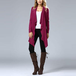 Pure Color Long Sleeve Bat Cardigan Dress