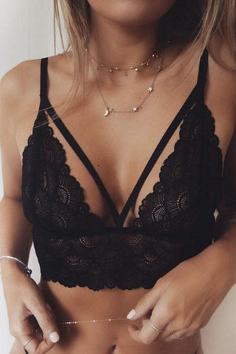 Spaghetti Strap  Hollow Out Plain Bra