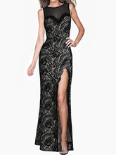 Load image into Gallery viewer, Round Neck Lace High Slit See-Through Evening Dress
