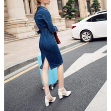 Load image into Gallery viewer, Fashion Plain Sleeve Bodycon Denim Dress