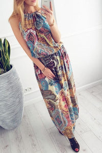 Halter  Printed  Sleeveless Jumpsuit