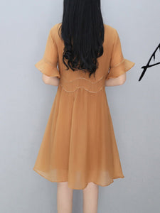Round Neck Plain Bell Sleeve Skater Dress