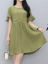 Load image into Gallery viewer, Round Neck Plain Bell Sleeve Skater Dress