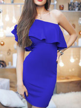 Load image into Gallery viewer, Asymmetric Neck  Plain Bodycon Dress