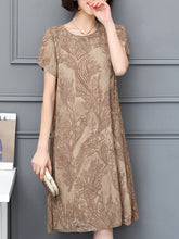 Load image into Gallery viewer, Round Neck  Printed Shift Dress