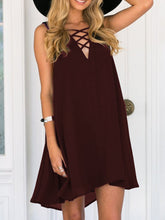 Load image into Gallery viewer, V-Neck  Lace-Up  Plain Shift Dress