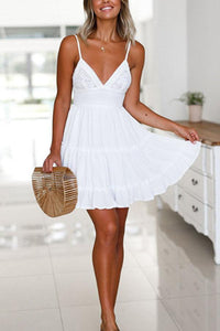 Spaghetti Strap  Backless Bowknot  Plain  Sleeveless Skater Dresses