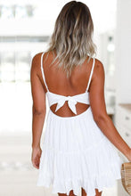 Load image into Gallery viewer, Spaghetti Strap  Backless Bowknot  Plain  Sleeveless Skater Dresses