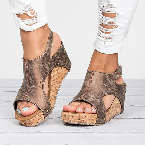 Peep Toe PU Blocking Hook-Loop Wedge Sandals Shoes