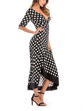 Load image into Gallery viewer, Deep V Collar Backless Flouncing Irregular Maxi Dress