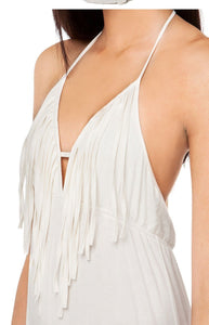 Sexy Deep V Collar Fringing Backless Maxi Dress